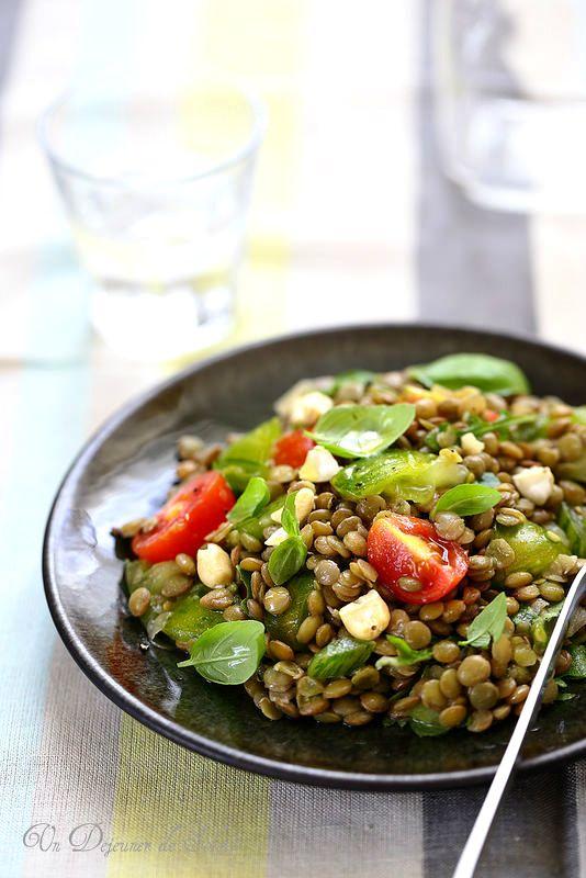 Salade de lentilles, tomates et basilic