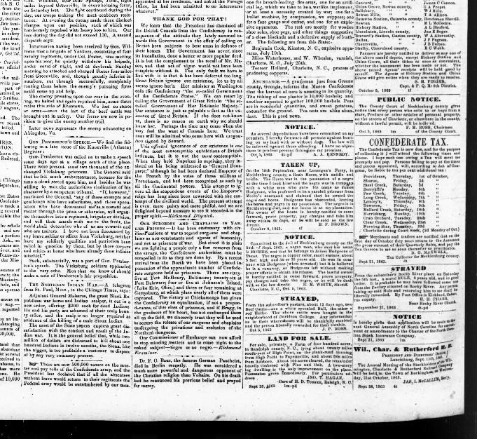 The Western Democrat newspaper, Charlotte, NC Oct 20, 1863 - mentions Factory on Rocky River