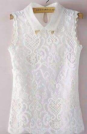 Blusa blanca de encaje ,talla XL