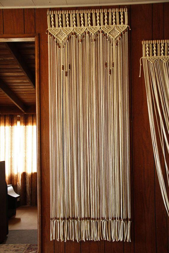 Bead fringed door curtain in macrame with handmade wood curtain rod on
