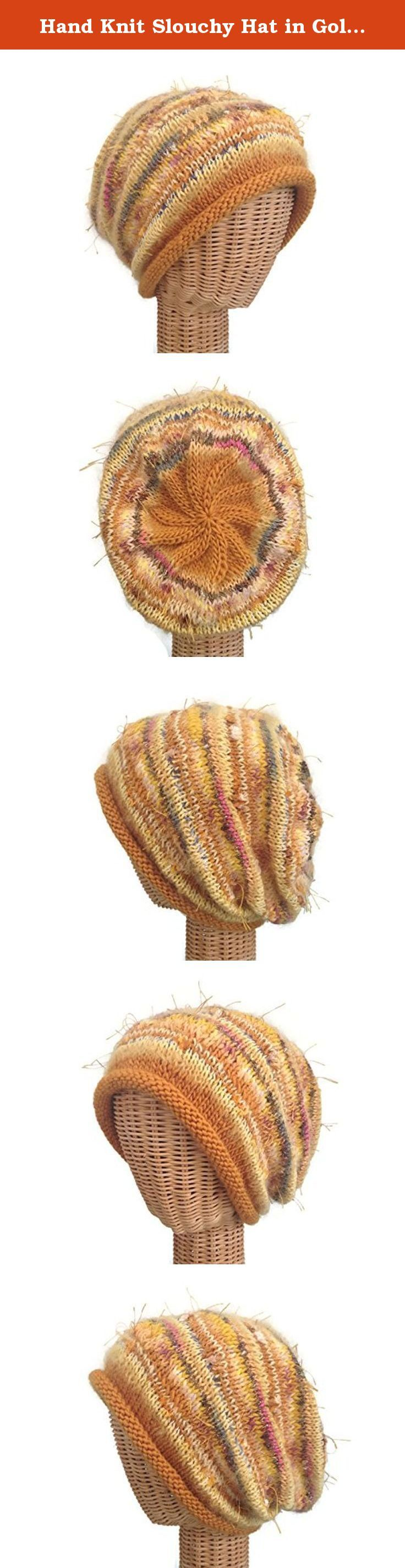 "Hand Knit Slouchy Hat in Gold Wool. This gorgeous gold hat is a Women's medium with plenty of ""give."" It is knitted combination of various novelty yarns and wool. It measures approximately 22 inches around and 11-inches from its rolled brim to the top."