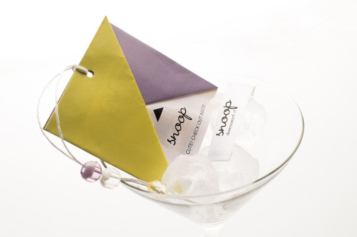 printed label and folded hantag on ice