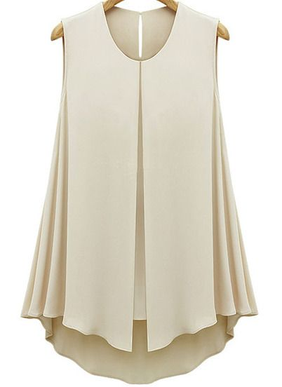 Apricot Sleeveless Double Layers Chiffon Blouse -SheIn(Sheinside)