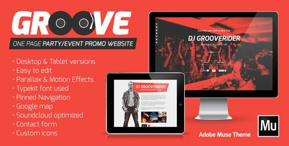 Groove - One Page Party / Event Promo Website Muse (Creative)