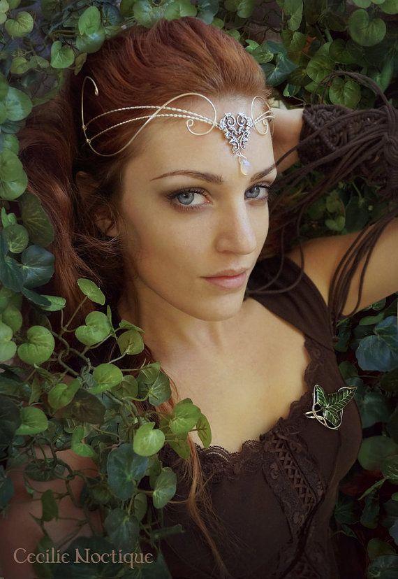 Medieval Renaissance circlet tiara ARWEN moonstone elven LOTR floral filigree