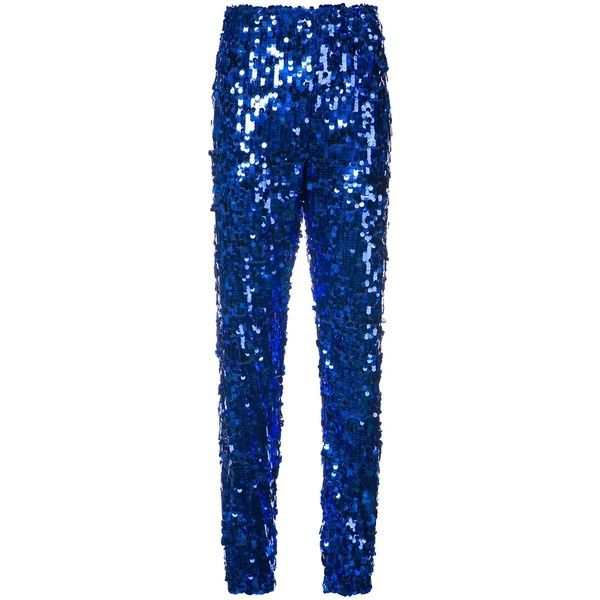MSGM Blue Sequinned Jogging Pants ($425) ❤ liked on Polyvore featuring pants, blue, blue high waisted pants, high-waisted trousers, sequin jogger pants, high-waist trousers and high waisted pants