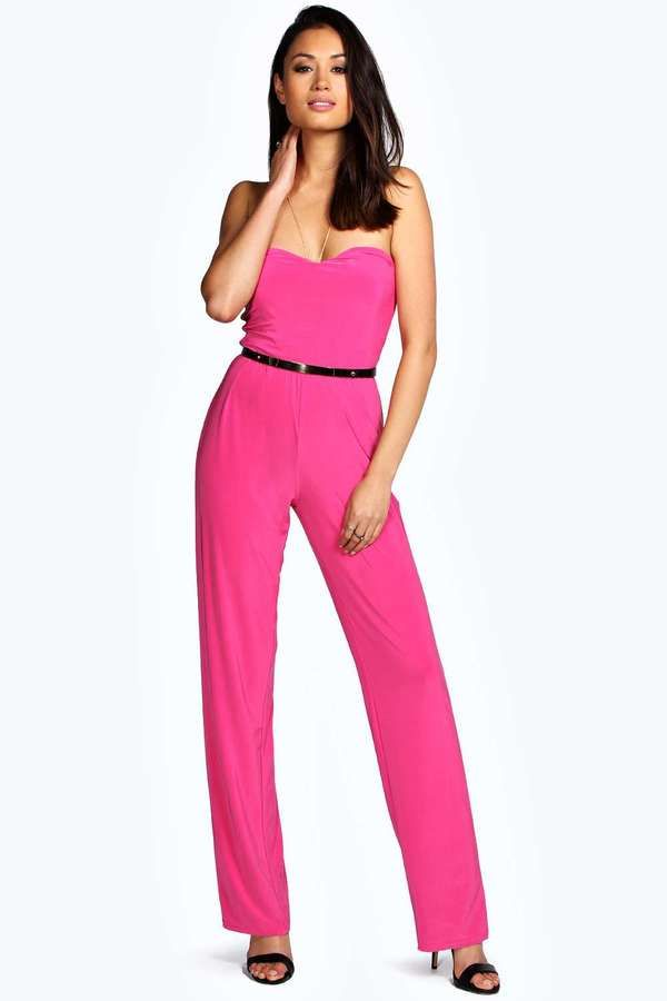 $26, Hot Pink Jumpsuit: Boohoo Aamira Bandeau Wide Leg Gold Belt Jumpsuit. Sold by BooHoo. Click for more info: http://lookastic.com/women/shop_items/136540/redirect
