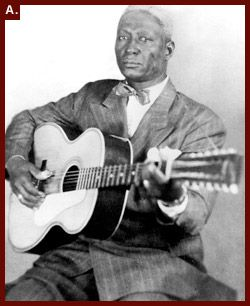 "Alan Lomax took this portrait of Huddie Ledbetter ""Leadbelly"" with his signature Stella 12 string guitar"