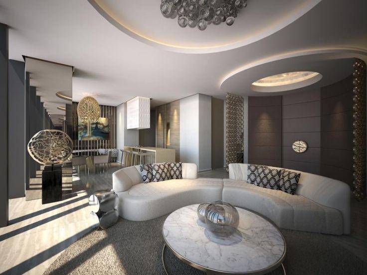 moderne wohnzimmer halbrunde wei e wohnlandschaft. Black Bedroom Furniture Sets. Home Design Ideas
