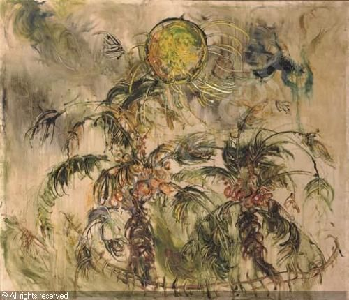 Coconut trees and Sun, Affandi