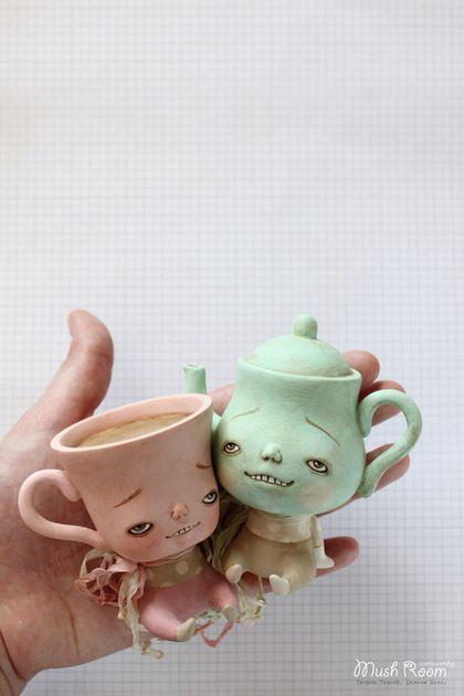 Tea Time!! - мятный,розовый,горошек,горох,чашка,чайник,чаепитие,алиса в стране чудес