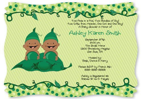 Two Peas in a Pod Baby Shower Invitation #Twins: