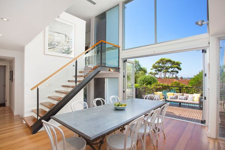 Private sanctuary in a prestige enclave, metal table, white dining chairs, 10 Rose Street Annandale, Pilcher Residential