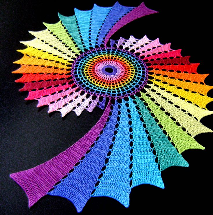 TRICO y CROCHET-madona-mía: Centro de mesa a crochet de colores- image only