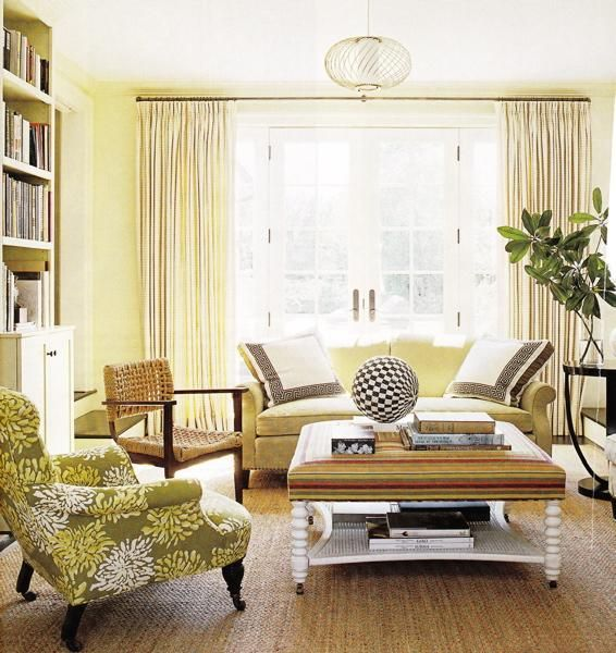 Green Yellow Coastal Living Room Design With Yellow Walls Paint Color Ivory Cream Silk