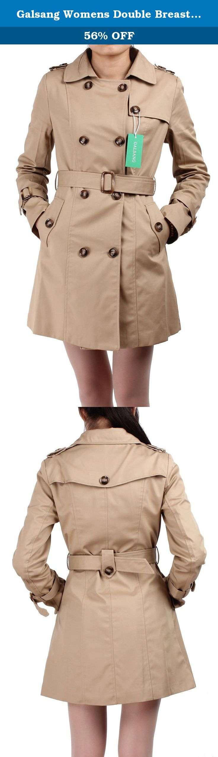 Galsang Womens Double Breasted Belted Trench Coat #B41 (Petite 12, Khaki). Galsang is registered by Blueblue Sky company and is exclusively distributed by Blueblue Sky.Galsang trademark is protected by US Trademark Law. If you are not satisfied, please don't leave us negative or neutral feedback right away. Please contact us via email. We promise to provide 100% fine customer service and try best to make every customer get good mood with fine shopping experience here.