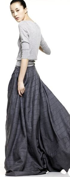 I like the idea of a sweater+ maxi skirt. Especially for fall. With some slip on booties it would be cute and comfy.