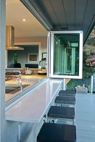 kitchen faces backyard with stools on outside