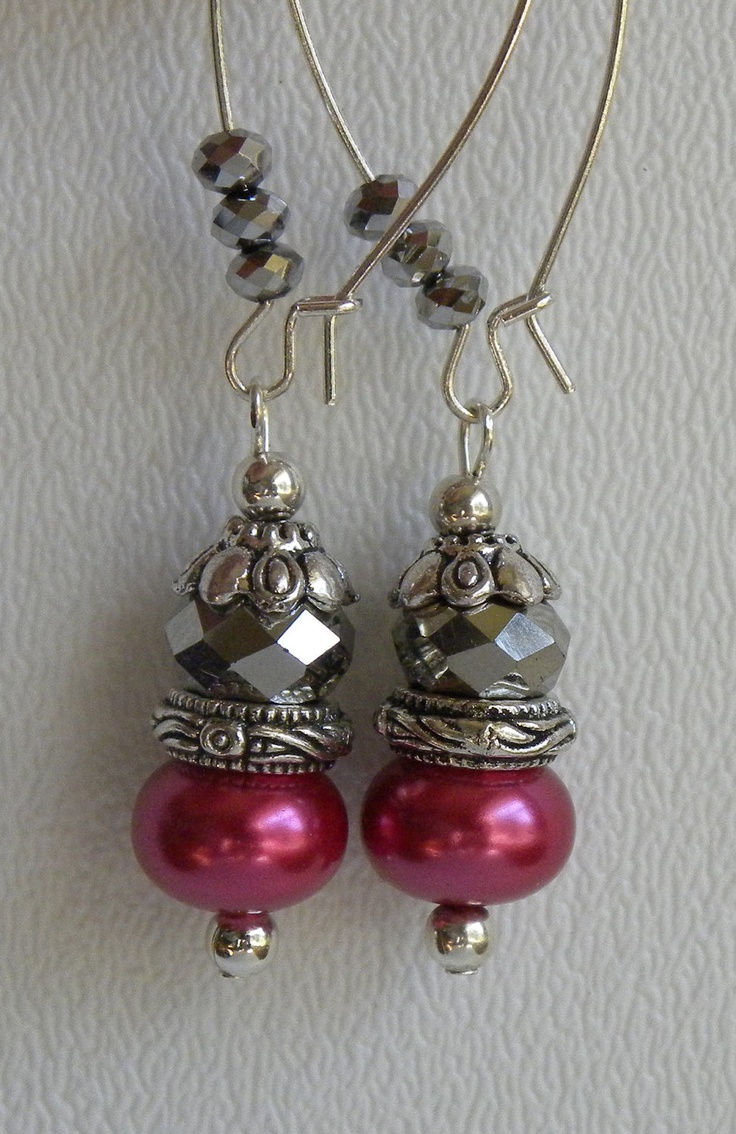 Isabella Handmade Beaded Earrings Raspberry Pearls Silver Crystals. $12.00, via Etsy.