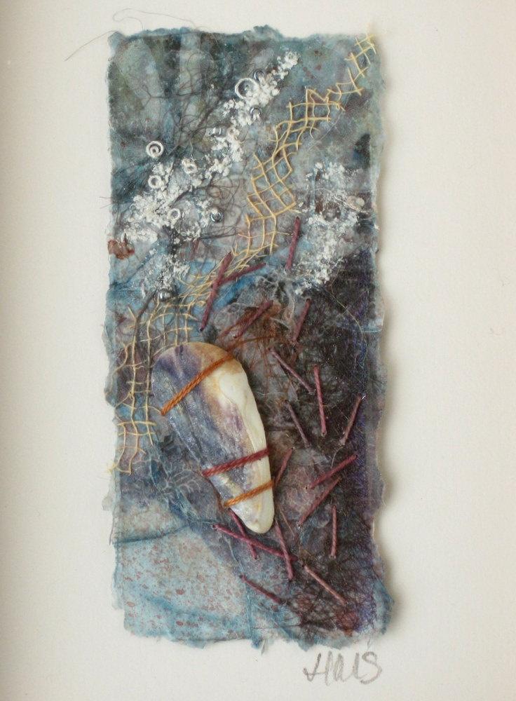 Seashore Art with Mussel Shell Fragment Framed