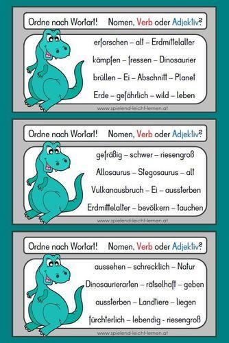 Ordne nach Wortart! Dinosaurier