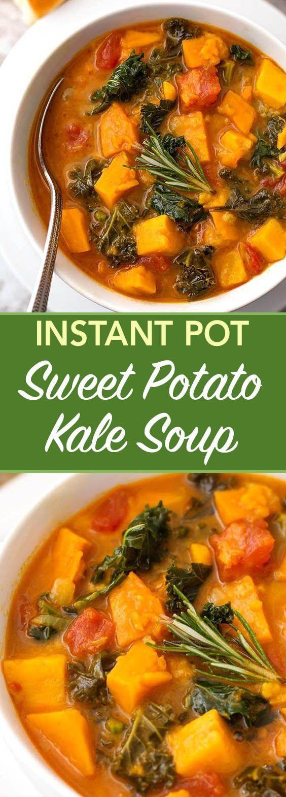 Instant Pot Sweet Potato Kale Soup | Simply Happy Foodie