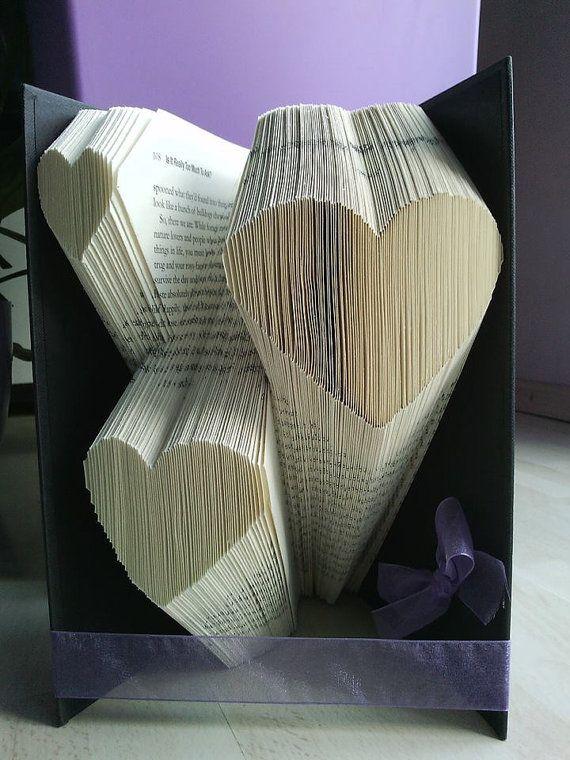 Multiple Heart Folded Book Art Pattern by FoldilocksBookArt