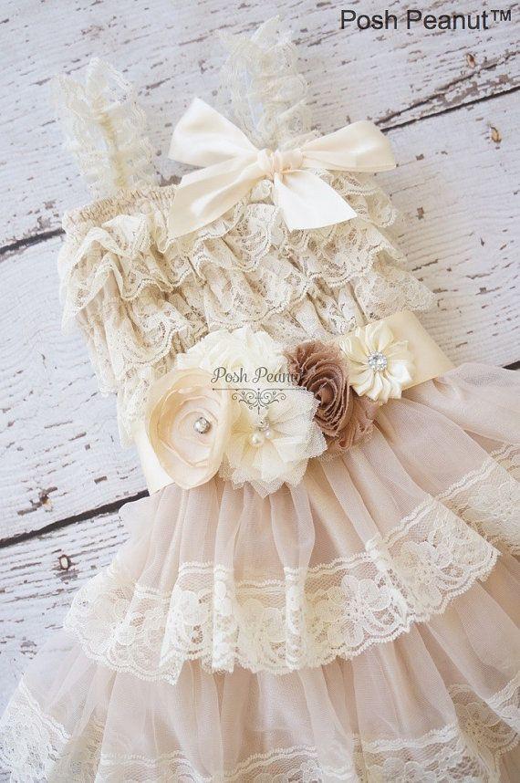 lace flower girl dress rustic flower girl dress by PoshPeanutKids