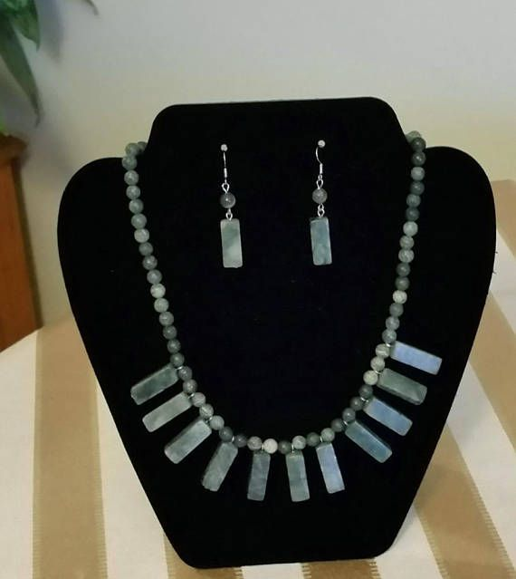 Natural Serpentine Necklace and Earrings  Stone Beads Jewelry