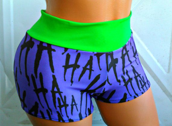 I made these Crazy shorts from my exclusive Joker inspired Lycra Style shorts with green waist band the lycra is Swim safe so you can wear these as
