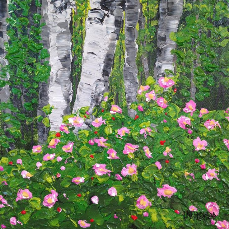 Wild Roses, Acrylic on canvas,  8 x 8 inches