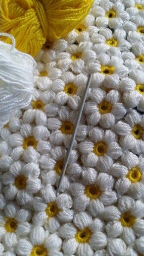 A baby blanket I am crocheting for a spring baby.....