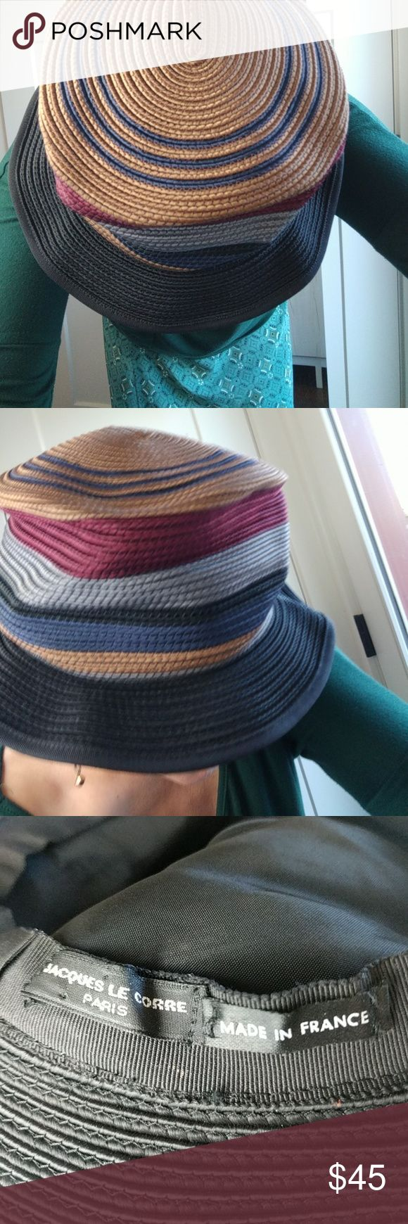 """Rope hat multicolored made in Paris France M Jacques Le Corre richly colored rope style hat.  Copper, navy, burgundy, steel grey, and black.  Has a sheen to it.  8"""" across diameter; 4.5"""" tall, with a 2"""" brim. Jacques Le Corre Accessories Hats"""