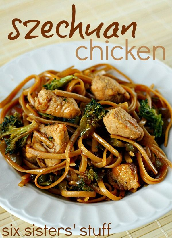 Easy Szechuan Chicken from SixSistersStuff.com. Loaded with vegetables!