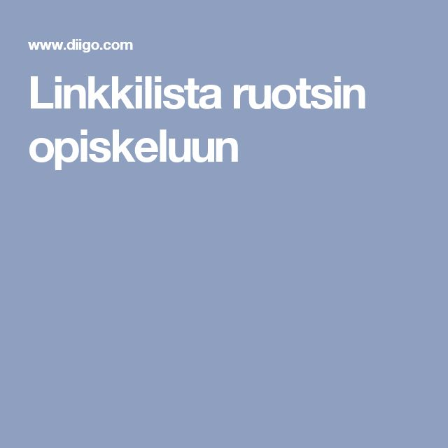 Linkkilista ruotsin opiskeluun
