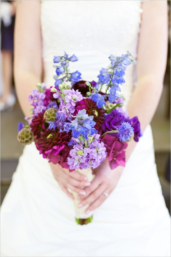 Lilac and blue vintage style bouquet