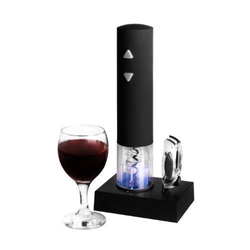 Found on amazon this  Deluxe Electric Corkscrew Automatic Cordless Wine Bottle Opener With Foil Cutter & Recharging Base- Wine Drinkers Gift Set. CKB Ltd®