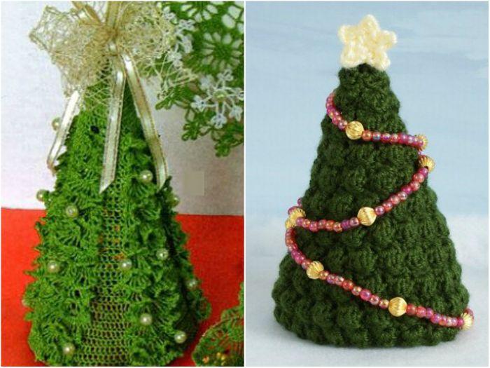 Прекрасные новогодние елочки, связанные крючком.
