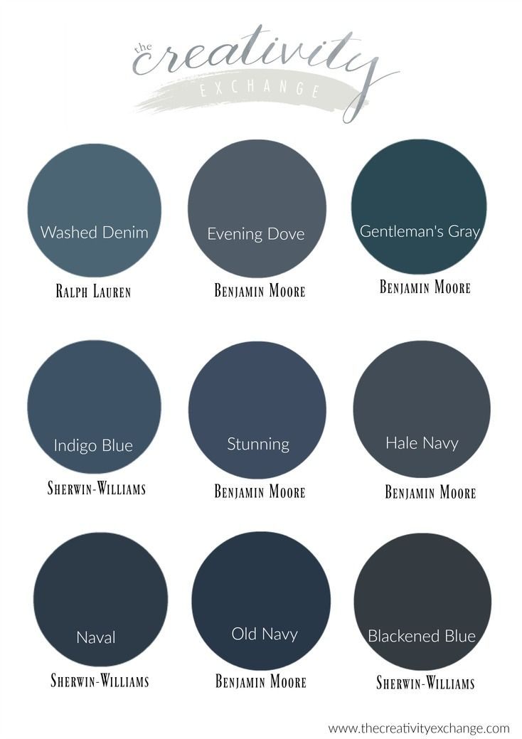 The best navy paint colors from light to dark.