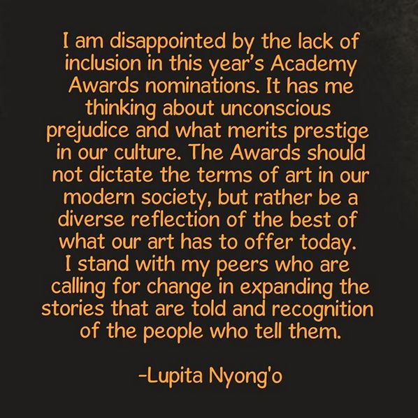 "Posting to her Instagram account, Lupita drew attention to the ""unconscious prejudice"" evident in the 2016 nominations. 