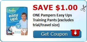 New Coupon!  Save $1.00 ONE Pampers Easy Ups Training Pants (excludes trial/travel size) - http://www.stacyssavings.com/new-coupon-save-1-00-one-pampers-easy-ups-training-pants-excludes-trialtravel-size/