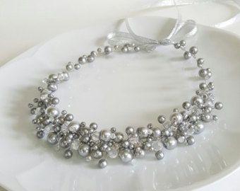 Rosa avorio nuziale perle corona diadema copricapo di perle