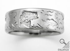Mens Bass Fishing Titanium Wedding Ring by Exotica Jewelry