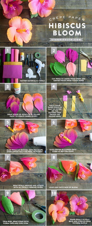 Tutorial para hacer flores Hibicus en papel Crepe, para centros de mesa de fiestas hawaianas. #FiestaHawaiana