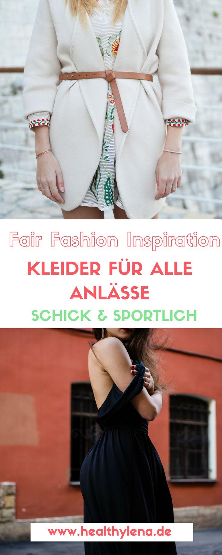 Für diese Fair Fashion Inspirationen habe ich mich mal auf die Suche nach Kleidern gemacht, die sich für die verschiedensten Anlässe eignen. Viele Kleider kann man als echte Basics super für den Alltag und mit ein paar schicken Accessoires auch direkt fürs Weggehen am Abend kombinieren. #eco #fairfashion #öko #mode #fairfashion #mode #vegan http://www.healthylena.de/lifestyle/fashion/fair-fashion-inspiration-kleider-fuer-alle-anlaesse/