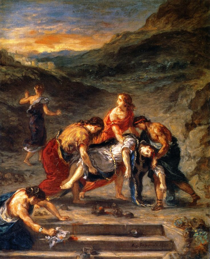 Eugène Delacroix - Saint Stephen Borne Away by His Disciples (1862)