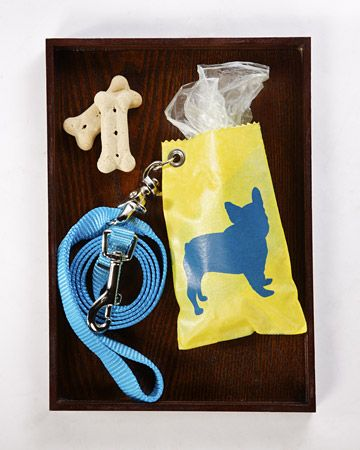 Dog-Cleanup-Bag Holder  Add some fun and fashion to everyday dog-cleanup with a holder made from plastic shopping bags.  Watch the Video: Actor Richard Belzer joins Martha to make this craft.  Get Instructions for Making a Dog-Cleanup-Bag Holder