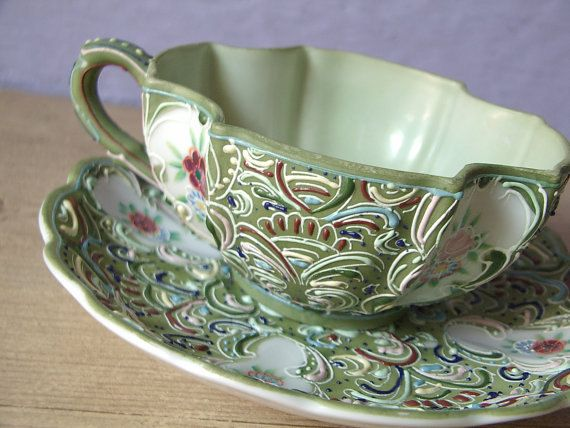 Rare Antique Anese Tea Cup Set 1950 S Ardalt Hand Painted And Saucer Green Moriage Porcelain Vintage Cups