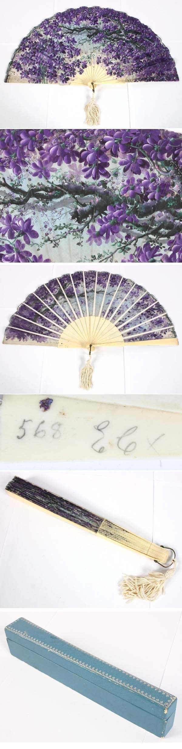 Lithograph on Cloth Fan Celluloid Sticks c.1910