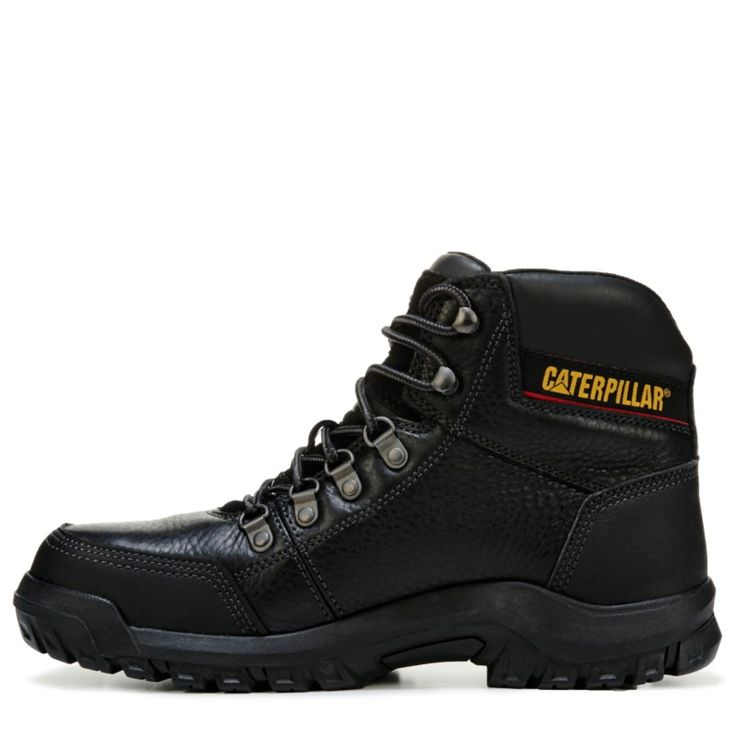 Caterpillar Men's Outline Medium/Wide Steel Toe Slip Resistant Work Boots (Black Leather)